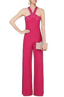 Hot Pink Flower Bed Jumpsuit by Namrata Joshipura