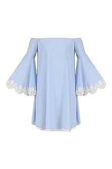 Ice Blue Scallop Hem Swing Dress