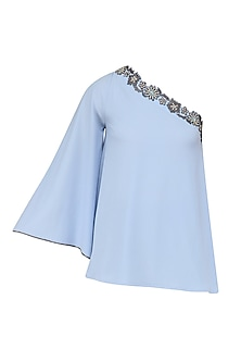 Ice Blue Crusted One Shoulder Top by Namrata Joshipura