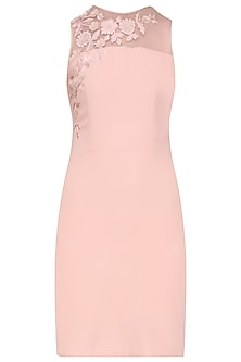 Frost Pink Floral Embroidered Dress