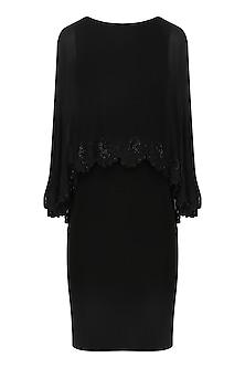 Black Scallop Cape Dress