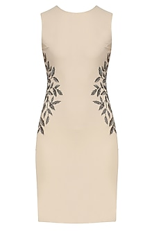 Sand Color Grape Leaf Bodycon Dress