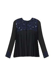 Black and Blue Floral Embroidered Cape