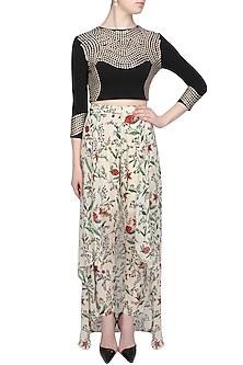 Ivory twigs print skirt by Namrata Joshipura