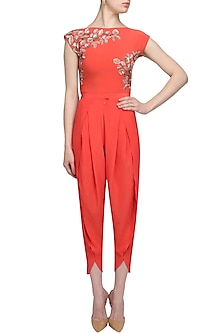 Orange petal pants by Namrata Joshipura