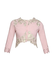 Light pink trellis blouse by Namrata Joshipura