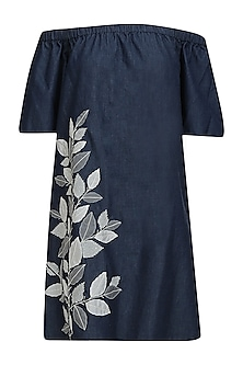 Deep blue folio off shoulder dress by Namrata Joshipura