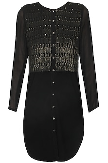 Black sequins civil lines embellished tunic by Namrata Joshipura