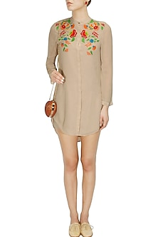 Beige floral embroidered garden tunic by Namrata Joshipura