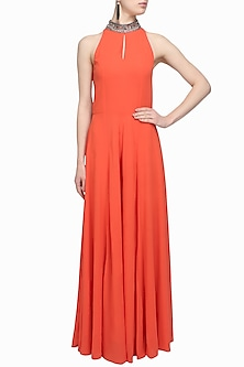 Orange bedazzle jumpsuit by Namrata Joshipura