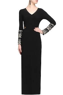 Black bedazzle sleeve dress by Namrata Joshipura