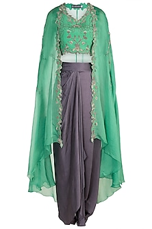 Sea Green Floral Blouse With Cape & Dhoti Pants by Nupur Kanoi
