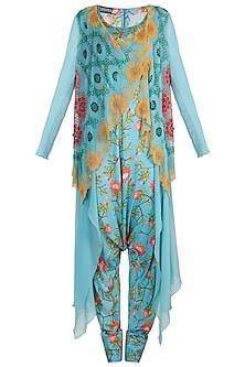 Blue Printed Layered Waistcoat With Pleated Jumpsuit by Nupur Kanoi