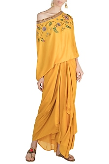 Yellow Mochiwork Sweater Top With Gathered Skirt by Nupur Kanoi