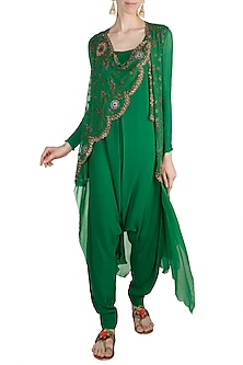 Green Mochiwork Layered Waistcoat With Jumpsuit by Nupur Kanoi