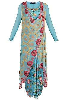 Sky Blue Printed Long Waistcoat With Blouse & Skirt by Nupur Kanoi