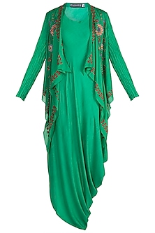 Green Mochiwork Jacket With Sac Dress by Nupur Kanoi
