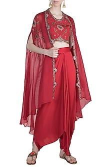 Red Mochiwork Cape With Blouse & Frill Skirt by Nupur Kanoi