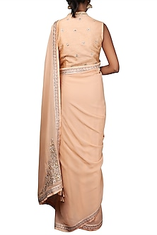 Caramel Embroidered Saree Set by Nikasha
