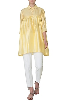 Lemon Yellow Embroidered Gathers Shirt by Neha Khanna