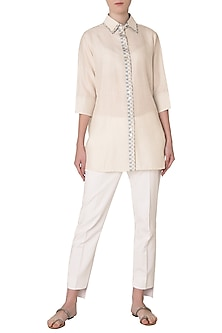 White Embroidered Double Collar Shirt by Neha Khanna
