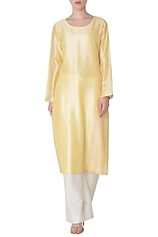Lemon Yellow Kaantha Embroidered Kurta by Neha Khanna