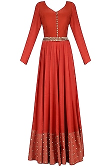 Red Pearl and Sequins Embroidered Anarkali Set