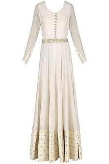 Off White Pearl and Sequins Embroidered Anarkali Set