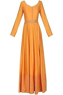 Orange Pearl and Sequins Embroidered Anarkali Set
