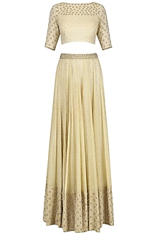 Cream Embroidered Lehenga Set by Neha Khanna