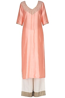 Peach Pearl Embroidered Kurta with White Palazzo Pants Set by Neha Khanna