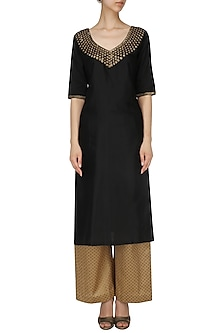 Black Pearl Embroidered Kurta with Palazzo Pants Set by Neha Khanna