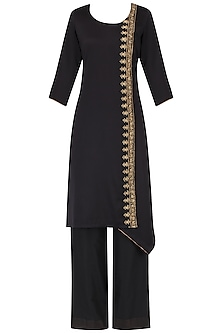 Black Asymmetric Embroidered Kurta with Palazzo Pants Set by Neha Khanna