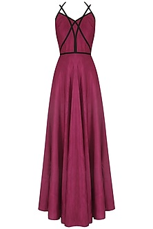 Garnet Red Strapy Crossover Gown