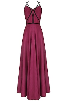 Garnet Red Strapy Crossover Gown by Neha Khanna