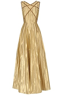 Gold Brocade Tissue Gown by Neha Khanna