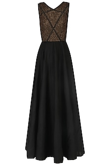 Black Zardozi Embroidered Gown