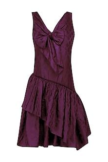 Wine Tiered Bow Short Dress by Neha Khanna