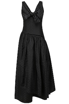 Black Tiered Bow Long Dress by Neha Khanna