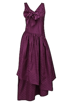 Wine Tiered Bow Long Dress