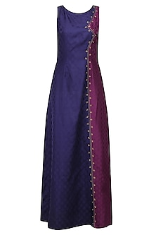 Indigo Blue and Wine Tanchoil Panelled Gown