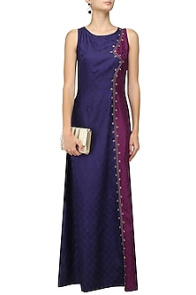 Indigo Blue and Wine Tanchoil Panelled Gown by Neha Khanna