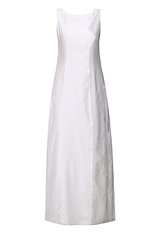 White Running Stitch Panelled Gown by Neha Khanna