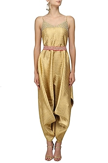 Gold Hand Embroidered Cowl Drape Jumpsuit by Neha Khanna