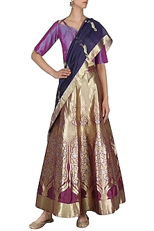 Wine And Purple Handloom Lehenga Set by Neha Khanna