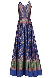 Royal Blue Strappy Crossover Gown