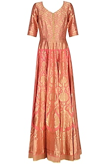 Coral Handloom Anarkali Gown Set