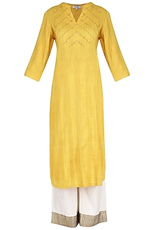 Yellow Kurta with Palazzo Pants