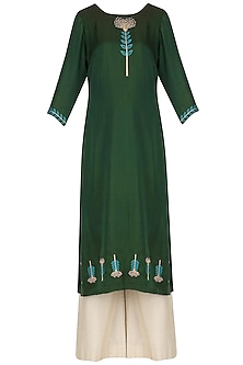 Dark Green Embroidered Kurta with Palazzo Pants by Neha Khanna