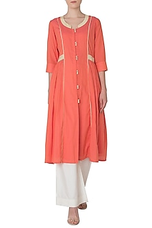 Orange Embroidered Kurta with Palazzo Pants by Neha Khanna